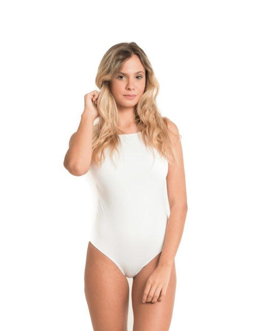 Body Nadador   Com Fecho Branco Liso- frente 2
