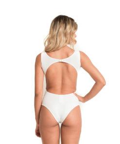 Body Nadador | Com Fecho Branco Liso - costas