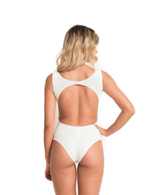 Body Nadador   Com Fecho Branco Liso - costas