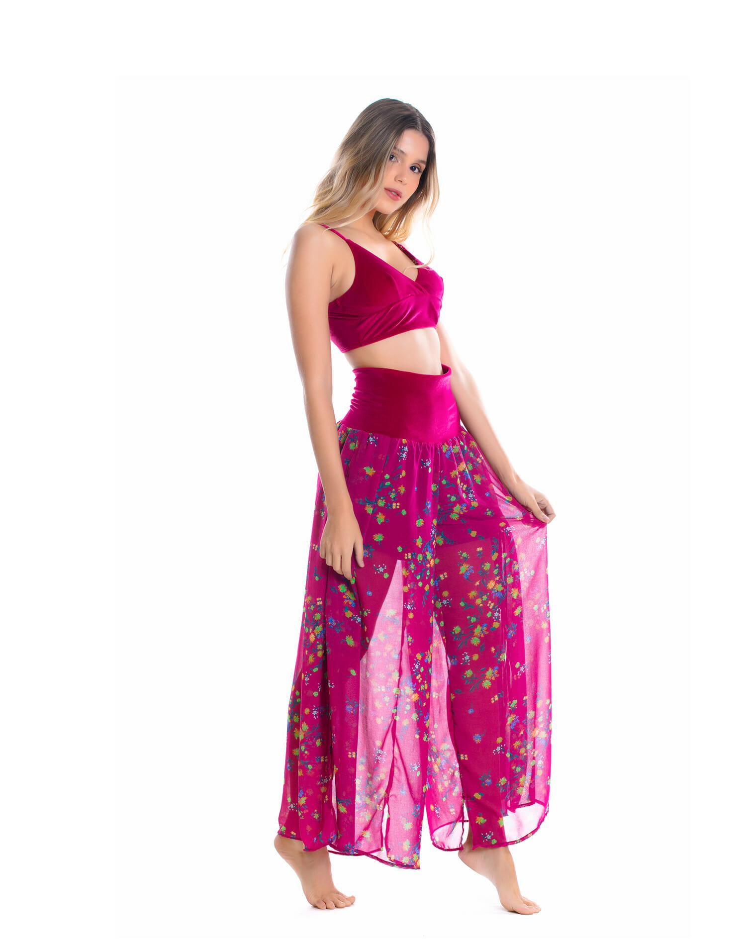 5a041ecf40d5 Calça Crepe e Top Cropped Veludo Rosa - Blih! Brazilian Bikini